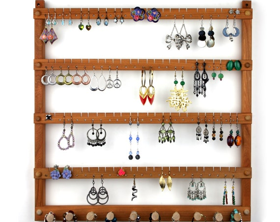 Wood Earring Holder Jewelry Organizer Cherry Wall Mount