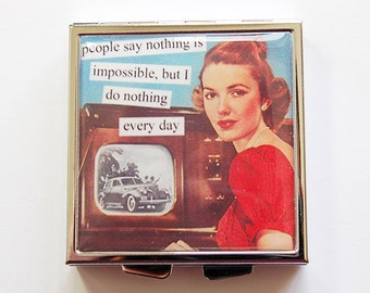 Funny pill case, Funny pill box, Doing Nothing, Pill Case, Pill Box, 4 Sections, Square Pill case, Square Pill box, Retro  (4110)