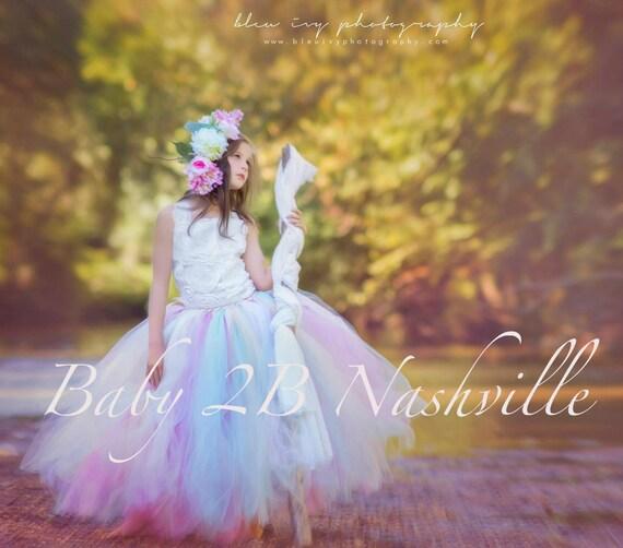 Ivory Flower Girl Dress  Wedding Flower Girl Ivory Rose and Mint  Dress Satin Rosette Detachable Bustle  All Sizes Girls
