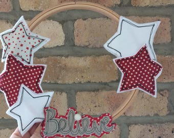 Believe freehand embroidered hoop wreath