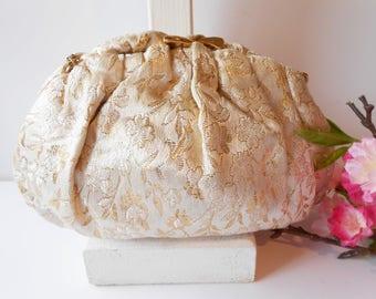 Vintage Evening Bag, Damask Design, White Gold Evening Bag, Vintage Handbag, Evening Purse, Formal Purse EB-0565