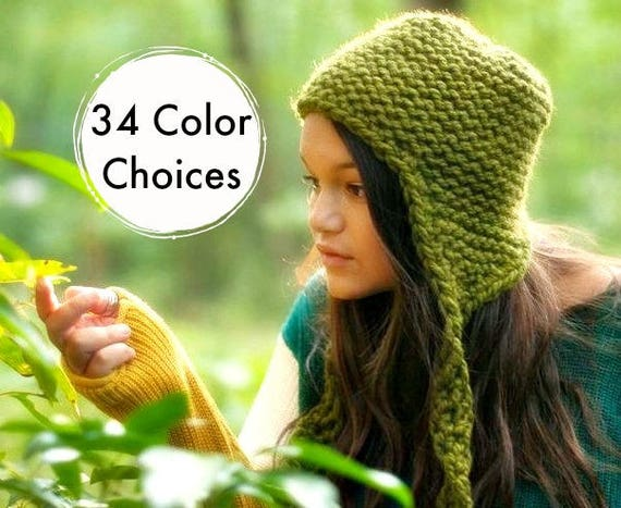 Hand Knit Hat Womens Hat - Garter Ear Flap Hat Olive Green Knit Hat Green Hat Green Beanie Green Ear Flap Hat Winter Hat - 34 Color Choices