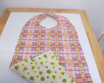 Adult Dining Bib / Clothing Protector - 2 Sided - Reversible Adult Clothing Protector