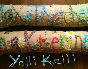 Freehand Embroidered Bohemian ELEVEN  Letters Name Pillow Custom Made