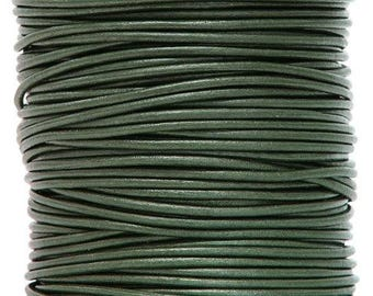 Round Leather Cord 1.5 mm Diameter Ocean Green Color 50 Meter Spool