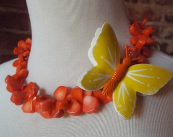 OOAK Colorful Orange Coral Statement Necklace with Colorful Vintage Butterfly Brooch