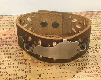Brown Leather Cuff Bracelet - Kentucky Bracelet - Kentucky Leather Cuff