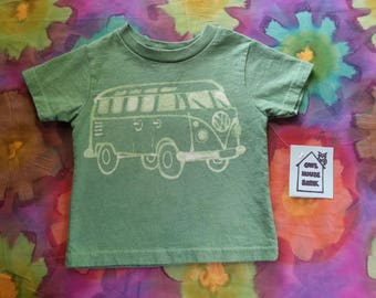 Batik VW Bus With Bird Green 2T Tshirt
