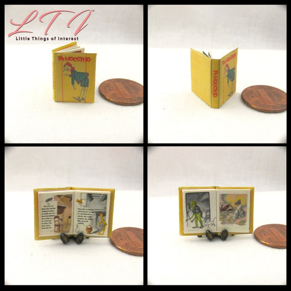 PINOCCHIO Miniature Book Dollhouse 1:12 Scale Illustrated Readable Book Geppetto Whale Puppet Boy Jiminy Cricket