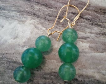 Green And Gold Kidney Ear Wire Earrings