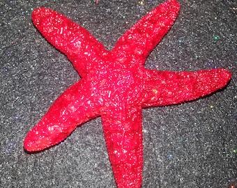 Red Starfish, ocean, mermaid clip, tropical wedding, bridal, starfish barrette, starfish hair clip, fish, ocean clip,beach, mermaid