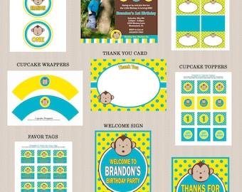 Mod Monkey Birthday Party Printables Package, Blue, Yellow, Boy Birthday, DIY, PRINTABLE, Photo Invitation