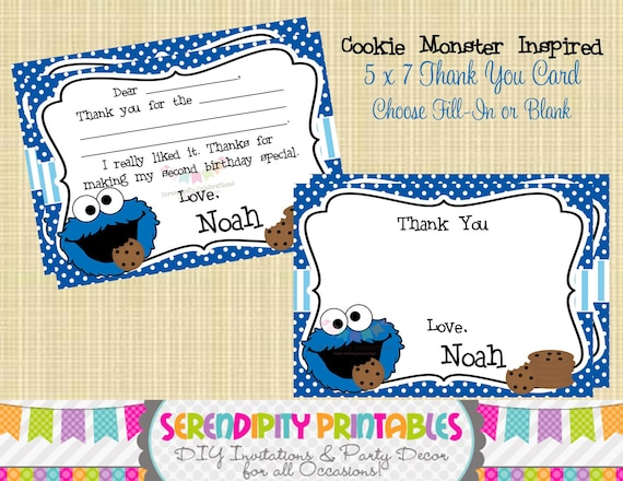 Cookie monster inspired collection printable thank you card like this item bookmarktalkfo Choice Image