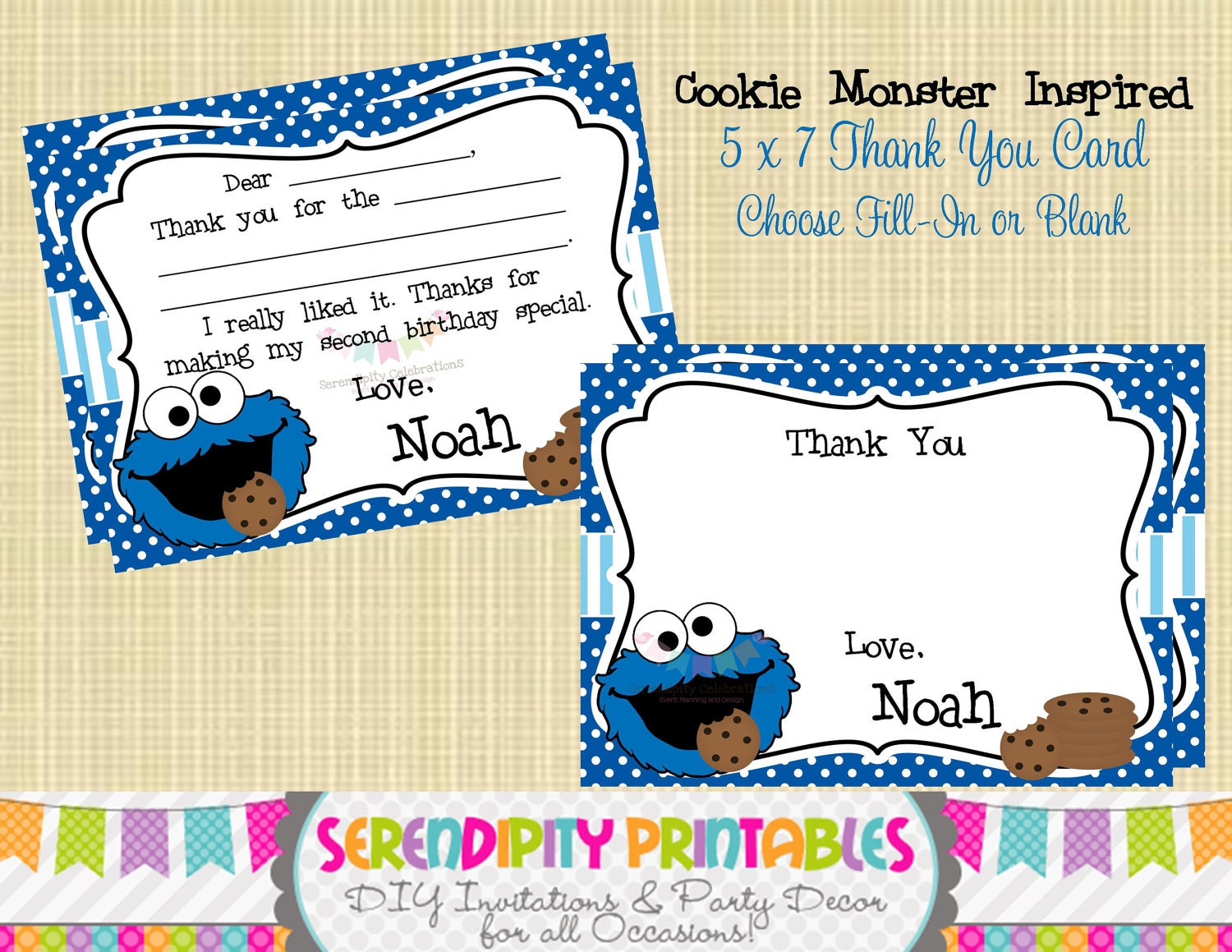 Cookie Monster Inspired Collection: Printable Thank You Card