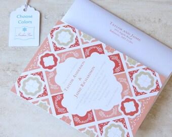 Mexican Wedding Invitation - Mexico Tile - Talavera Tile Floral - Coral Red Purple Aqua Orange Pink Teal - Choose Your Colors