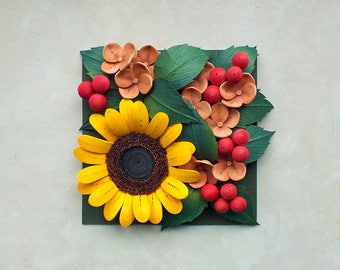 Sunflower Wall Art - Plant Wall Decor - Quilling Paper Flowers - 1st Anniversary - Summer Flowers - Botanical Artwork - Floral Decor