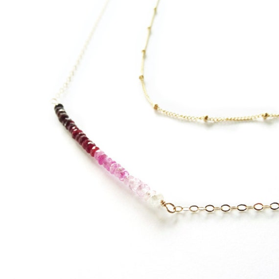 Gold Ombre Ruby Bar Necklace