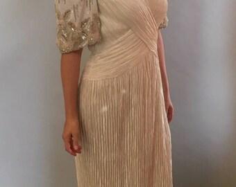 Mary Macfadden Pleated Dress with Beaded Sleeves