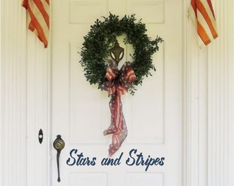 4th July Patriotic Stars & Stripes Door Decor Custom Vinyl letters Decal Wall Words Lettering Front Door Curb Appeal Entryway Do It Yourself
