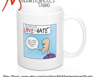 """11 oz. Funny Coffee Mug With Saying """"Hey! Coffee Break's Over! Get Back to Work!"""" - Great for Office Gag Gift or Coworker Gift Mug"""