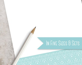 Custom Monogrammed Note Pad | Teal Ornament Personalized Notepad | Available in 5 sizes and as a Set