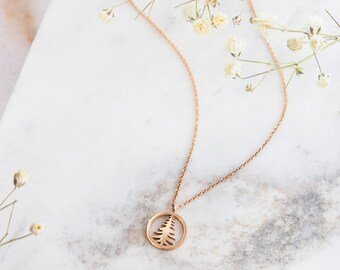 Gold Pine Tree Necklace, 14K Gold Necklace, Rose Gold, Rose Pine Tree, Solid Gold Pendant, Unique Gift For Her, Gold Christmas Tree Charm