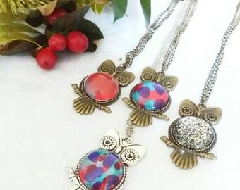 Handpainted owl cabochon necklaces