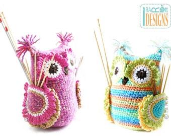 CROCHET PATTERN Hooty the Owl Buddy Hooks and  Needles Organizer Crochet Pattern in PDF