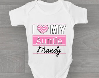 Auntie baby grow etsy personalised i love my auntie baby grow cute unique vintage style bodysuit baby gift negle Choice Image