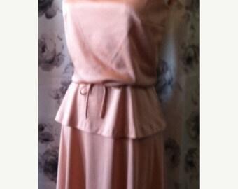 35% off Sale Mod retro Pink mock turtleneck sundress 1970 small