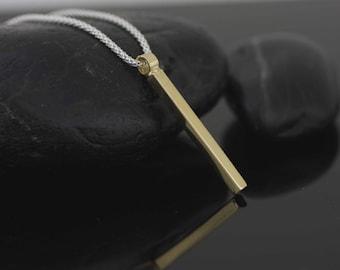 Silver Bar Necklace, Gold Over Silver Bar Necklace, Silver Two Tone Bar Necklace, Long Silver Bar Necklace, Minimalist Silver Necklace,