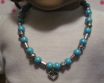 American Girl Turquoise Necklace With Heart Charm
