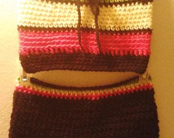 Rasta Crop Top  Shorts Set   Crochet Rasta Summer OutFit