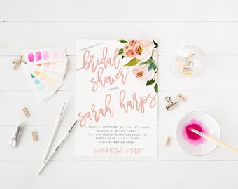 Pink Bouquet Bridal Shower Invitation Wedding Party Invitation Hens Party Bachelorette Party Invite light pink spring floral