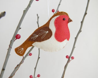 Felt Robin Ornament   Felt Christmas Ornament  Robin bird ornament Red bird Christmas decoration Embroidered tree decoration