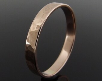 Flat Profile Hammered 14k Rose Gold Band Ring, Rose Gold Wedding Band, Rose Gold Wedding Ring, Low Profile, 3 x 0.8 mm, 3 mm