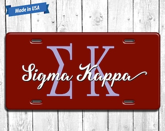 Sigma Kappa License Plate Monogram - Personalized Sorority Auto Tag LP105