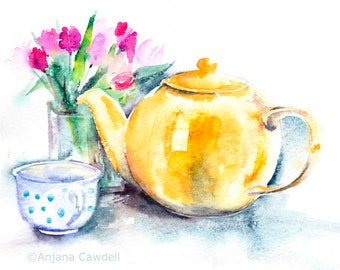 Tulips Card, Blank Greetings Card, Watercolour Card, Watercolor Card, Tulip Card, Spring Card, Spring Birthday, Mother's Day, teapot card