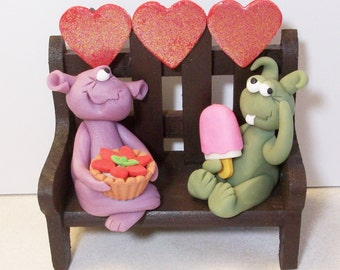 Sugar Monsters, Polymer clay Monsters with desserts and hearts.