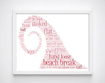 Surfer Girl, Surf Art, Wave Art Decor, Wave Art Prints, Printable Art, Gifts for Surfers, Wave Prints, Surf Art, Wave Art, Digital Print