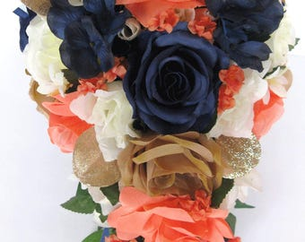 "17 piece Wedding Bouquet package Bridal Bouquets Artificial Silk flowers Cascade NAVY Blue CORAL GOLD flower Centerpiece ""RosesandDreams"""