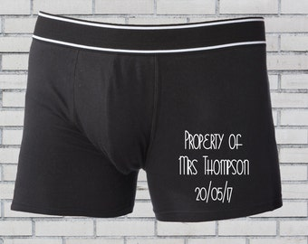Groom boxers, Personalised boxers, Groom underwear, Wedding boxers, Personalised underwear, Groomsmen boxer shorts, Property of Mrs,