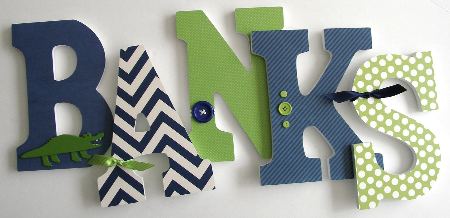 Navy Blue & Green Custom Wooden Letters Personalized Nursery