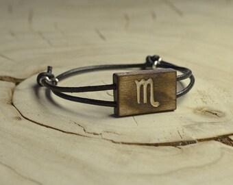 Bracelet Bois Récupéré, Cuir et Argent - Signe Astrologique Scorpion