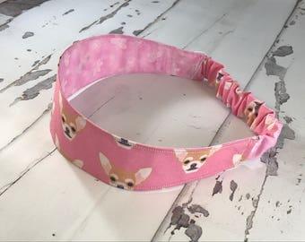 Chihuahua and Butterflies Reversible Headband