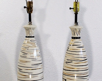 Mid Century Modern Pair of Atomic Ceramic Table Lamps Iron Hairpin Tripod 1950s