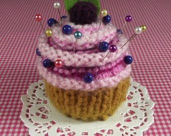 KNITTING PATTERN PINCUSHION Cupcake knit crochet dessert  Amigurumi food Blueberry Sewing Gift pdf Pattern Instant Download step by step