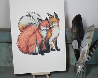 Fox Couple Illustration - A4 Print on 270gsm Card available in 3 Colours