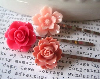 PINK Bobby Pin Set, 3 Flower Hairpins, Wedding Bridal Hair Accessory, Bridesmaid Gift, Stocking Stuffer, Small Gift, Gift for Women