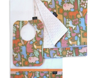 Zoo Safari Receiving Blanket set with Matching Bib and Burp Cloth